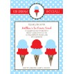 Ice Cream Social Party Printable Invitation - Red Blue